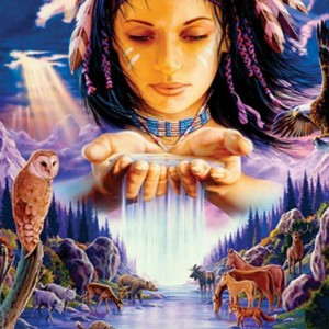 native american woman animals
